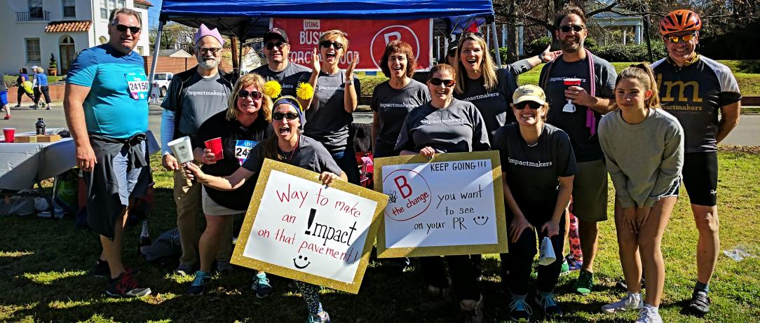 Virginia B Corps cheering for marathon runners in Richmond