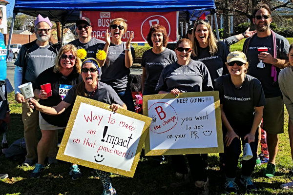 Virginia B Corps cheering for marathon runners in Richmond